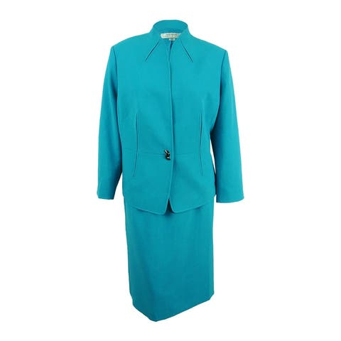 Tahari ASL Women's Plus Size Swivel-Button Skirt Suit - Turquoise