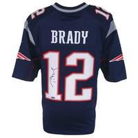 Tom Brady Signed New England Patriots Blue Nike Limited Jersey Tristar
