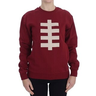 House of Holland Red Cotton Crewneck Pullover Sweater