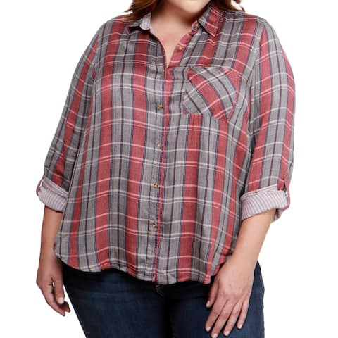 Lucky Brand Red Blue Women's Size 1X Plus Plaid Button Down Shirt