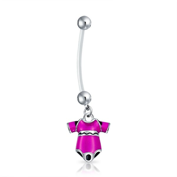 Bling Jewelry Bioflex Pink Enamel Onesie Pregnant Belly Button Ring Steel