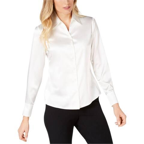 Kasper Womens Charmeuse Button Up Shirt, white, 16