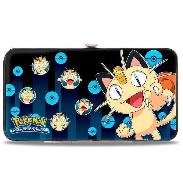 Meowth Clawing Pose2 Expressions Pok Balls Rays Blues Hinged Wallet - One Size Fits most