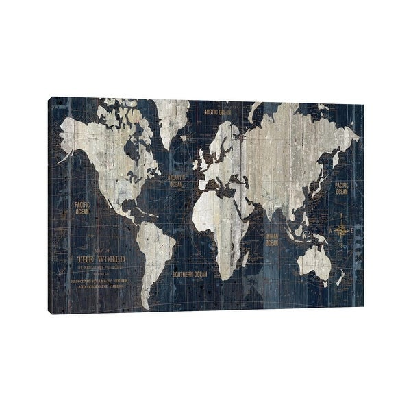 """iCanvas """"Old World Map Blue"""" by Wild Apple Portfolio Canvas Print. Opens flyout."""