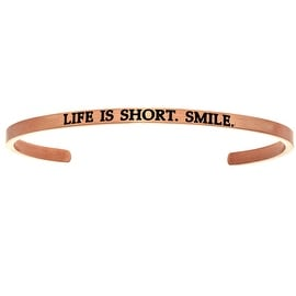"Intuitions ""Life is Short, Smile"" Pink Stainless Steel Cuff Bangle Bracelet"