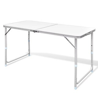 "vidaXL Foldable Camping Table Height Adjustable Aluminum 47.2""x23.6"""