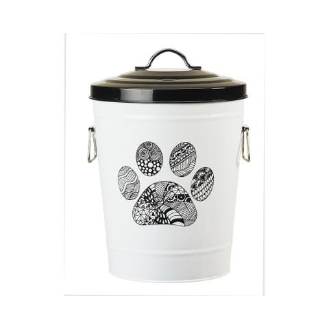 Amici Pet Food Safe Metal Storage Canister With Lid & Handle for Pet Food, Zentangle Paw Print Design - Black/White