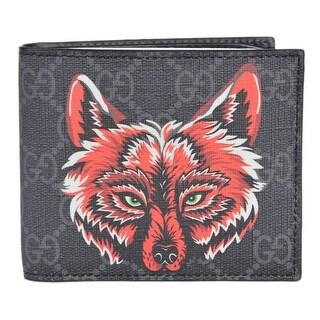 """Gucci Men's Black Grey GG Supreme Canvas Wolf Pattern Logo Bifold Wallet - 4.25"""" x 3.5"""""""