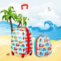 Gymax 2PC Kids Luggage Set 12'' Backpack & 16'' Rolling Suitcase for School Travel ABS - as pic