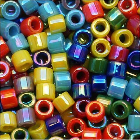 Miyuki Delica Seed Beads, 10/0 Size, 8 Grams, Mix Opaque Rainbow AB