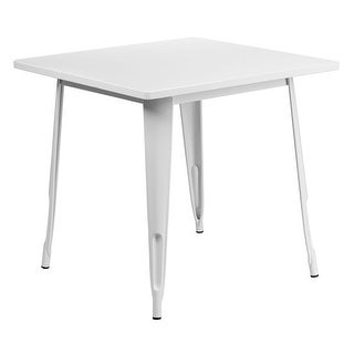 """Offex 31.5"""" Square White Metal Indoor Table [OF-ET-CT002-1-WH-GG]"""