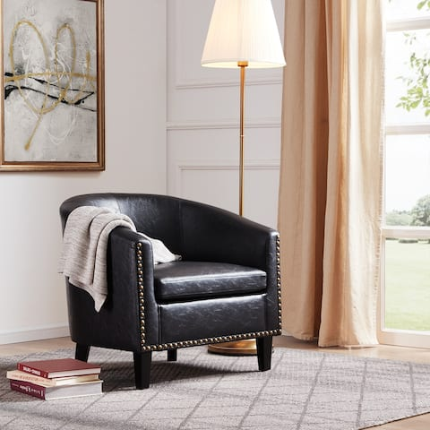 BELLEZE Tub Barrel Chair Upholstered Faux Leather W/ Nail head, Black - standard