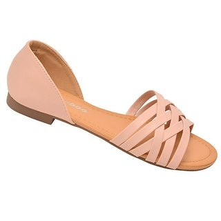 Weeboo Adult Blush Criss-Cross Straps Closed Heel Flat Sandals