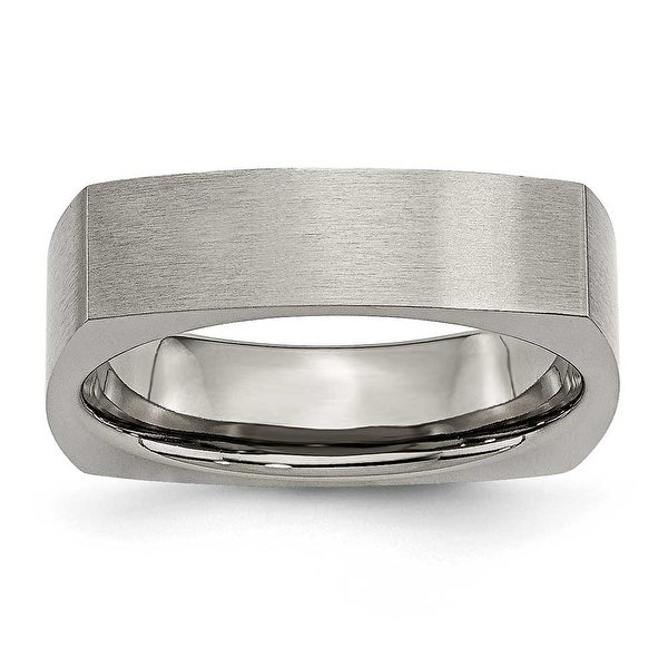 Chisel Squared Corner Brushed Titanium Ring (6.0 mm)