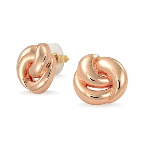 Simple Twisted Rope Love Knot Stud Earrings Shinny Rose Gold Plated - 0.74