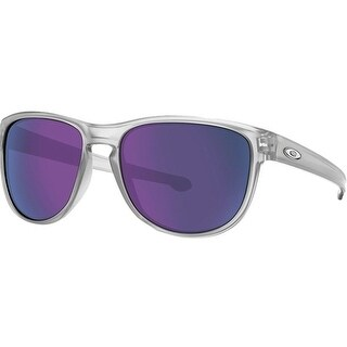Oakley Silver Round Matte Frame Clear/Violet Iridium Lens Sunglasses