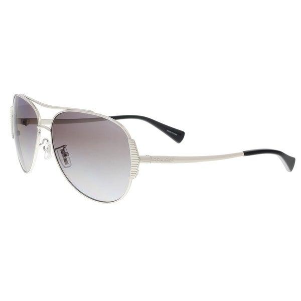 53578b27819d4 Shop Coach HC7067 901511 Silver Black Aviator Sunglasses - 59-14-140 ...