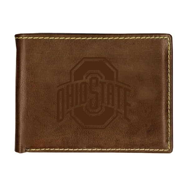 Ohio State University Contrast Stitch Bifold Leather Wallet