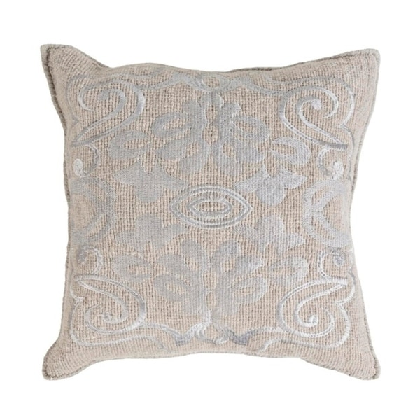 """18"""" Elephant and Oyster Gray Woven Decorative Throw Pillow-Down Filler"""