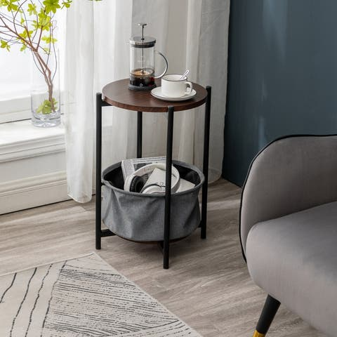 MDF Double-layer Round Tea Table with Storage Gray