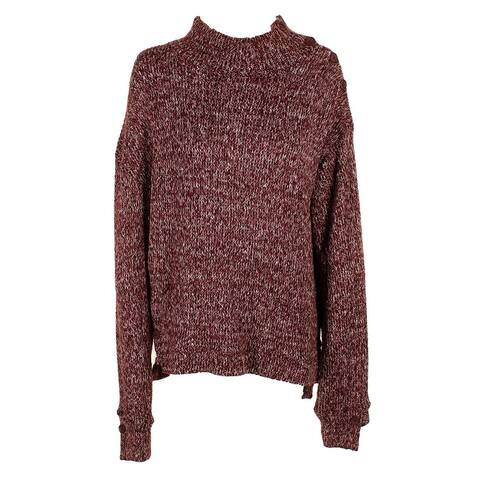 William Rast Burgundy Marled Button Detail Mock Neck Sweater XL