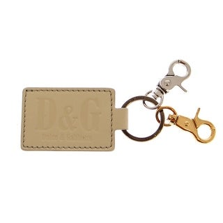 Dolce & Gabbana White Leather Metal Ring Keychain - One size