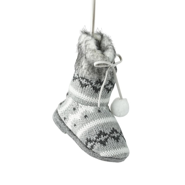 "4.5"" Winter's Beauty Gray and White Fair Isle Boot Christmas Ornament with Pom Pom Laces"