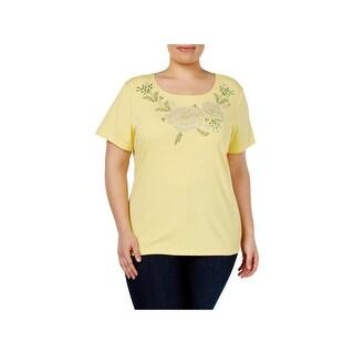 Karen Scott Womens Plus T-Shirt Embellished Floral