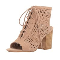 Steve Madden Womens Gavell Lace-Up Block Heel Sandals Camel Suede - 10 b(m)