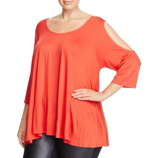 Nally & Millie Womens Plus Casual Top Swing Cold Shoulder