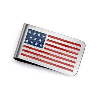 Bling Jewelry Mens Stainless Steel Patriotic American Flag Money Clip