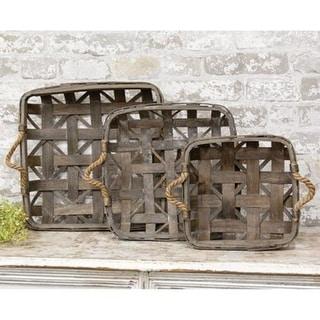 3/Set Natural Square Tobacco Baskets w/Jute Handles