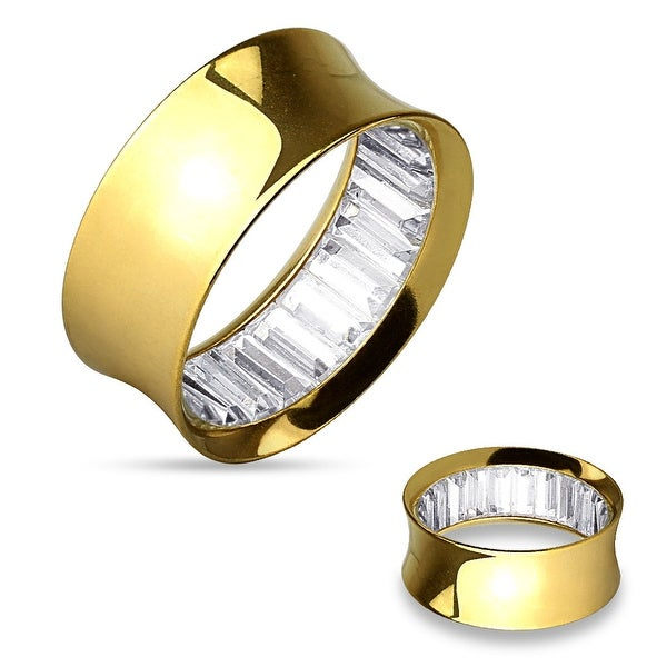 Square Stones Inside Gold IP over 316L Surgical Steel Double Flared Tunnel (Sold Individually)