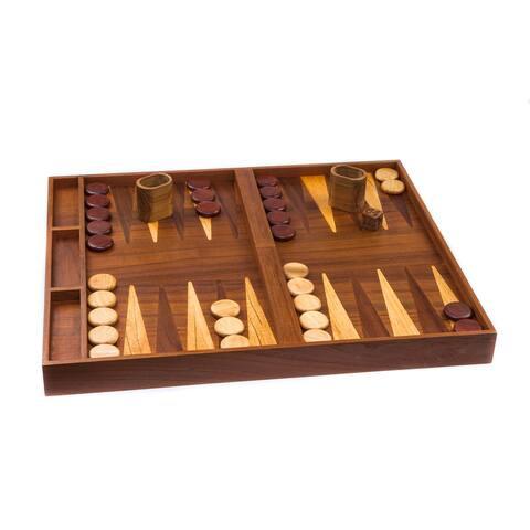 2 in 1 Teak Backgammon/Checkerboard
