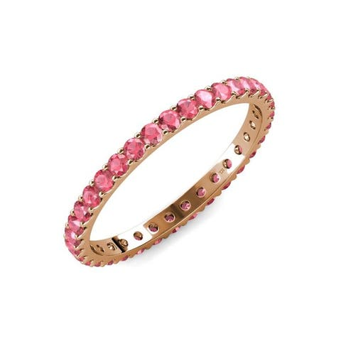 TriJewels Pink Tourmaline 7/8 ctw Womens Eternity Ring Stackable 14K Gold