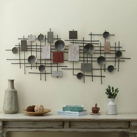 Metal and Wood Geometric Abstract Wall Art