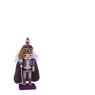 """10"""" Hollywood Lilac, Gold and Purple Decorative Wooden King Christmas Nutcracker Table Top Decoration"""