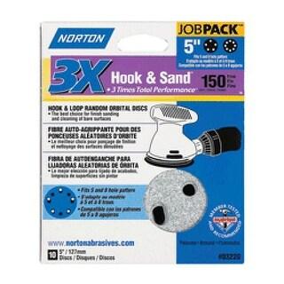 "Norton 03220 Hook and Loop Sanding Discs, 5"" Dia., P150 Grit"