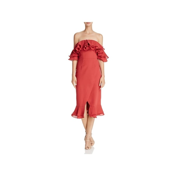 Shop C Meo Collective Womens Midi Dress Ruffled Off-The-Shoulder ... d737a461c