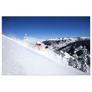 """""""A skier rips fresh powder turns on a sunny day in Colorado."""" Poster Print"""