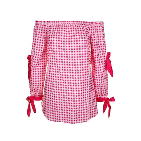 Xoxo Juniors Pink Lng-Sleeve Cotton Off-The-Should Gingham Tunic S