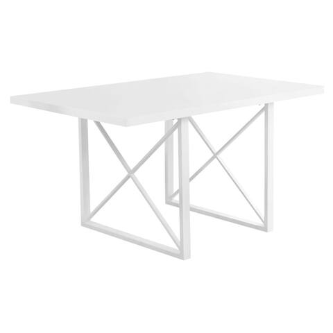 "Offex Dining Table - 36"" x 60"" White Glossy/White Metal - Not Available"
