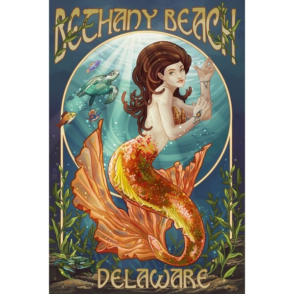 Bethany Beach, DE - Mermaid - LP Artwork (100% Cotton Towel Absorbent)