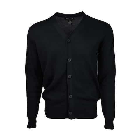Marquis Men's Black Solid Button 100% Cotton Cardigan