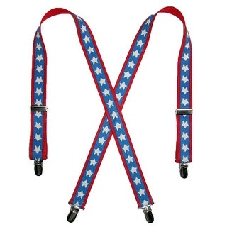 CTM® Kids' Elastic 1 Inch Wide Clip-End Patriotic Star Pattern Suspenders - Stars - One Size