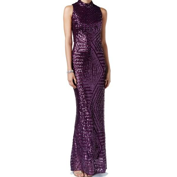 Shop Vince Camuto NEW Purple Plum Women 6 Sequin Sheath Cutout Gown ...
