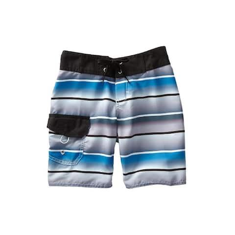 Azul Blue Multi Wavy Stripes Print Drawstring Tie Board Shorts Boys