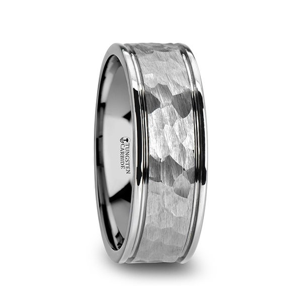 Thornton Hammered Finish Center White Tungsten Carbide Wedding Band With Dual Offset Grooves And Polished Edges