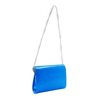 Unique Bargains Women's Metal Capped Edge Leahterette Mini Shoulder Bag - Blue