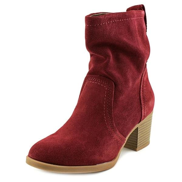 White Mountain Behari Women Round Toe Suede Burgundy Ankle Boot